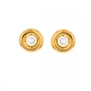 Puces d'oreilles diamants 0.22 carat en or jaune