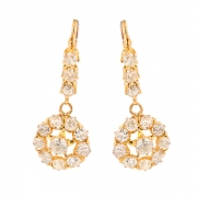 Boucles d'oreilles pendantes diamants 3.08 carat en or jaune
