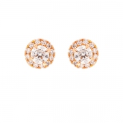 Boucles d'oreilles diamants 0.60 carat en or rose