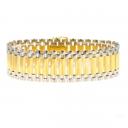 Bracelet maille contemporaine en or bicolore 38.09grs