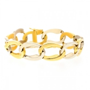 Bracelet maille contemporaine en or bicolore 49.25grs