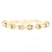 Bracelet maille contemporaine en or bicolore 13.20grs
