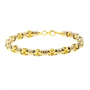 Bracelet maille contemporaine en or bicolore 28.04grs