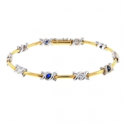 Bracelet saphirs et diamants 0,45 carat en or bicolore