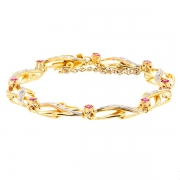 Bracelet ancien rubis 1.20 carat et roses de diamants en or bicolore