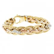 Bracelet diamants 0,20 carat en or jaune, or blanc et or rose