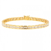 Bracelet diamants 0.78 carat en or bicolore