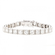 Bracelet rivière diamants 9.80 carats en or blanc