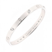 Bracelet jonc collection LOVE signé CARTIER diamants 0.42 carat en or blanc