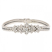 Bracelet vintage diamants 1,21 carat en or blanc