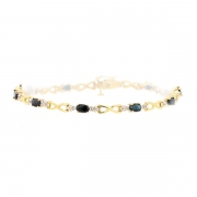 Bracelet saphirs et diamants en or jaune