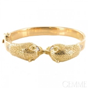 Bracelet Jonc Or Jaune Têtes de Chats, Diamants