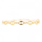 Bracelet maille contemporaine et diamants 0.36 carat en or jaune 15.57grs