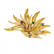 Broche diamants 0.15 carat et saphirs 0.24 carat en or jaune