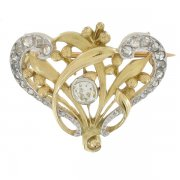 Broche diamants 0,25 carat en or bicolore