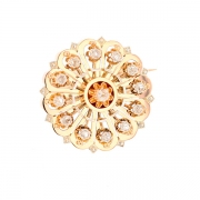 Broche rosace roses de diamants en or bicolore