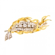 Broche diamants 1.54 carat en or bicolore