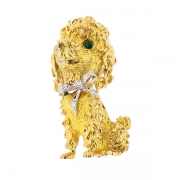 Broche caniche diamants 0.10 carat en or bicolore 27.87grs