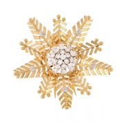 Broche flocon diamants 1 carat en or bicolore