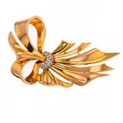 Broche noeud diamants 0.30 carat en or bicolore