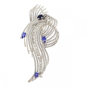 Broche diamants 0.10 carat et saphirs 0.20 carat en or blanc