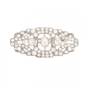 Broche ancienne diamants 4.4 carats en or blanc