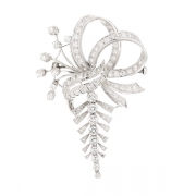 Broche vintage diamants 1.50 carat en or blanc