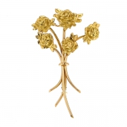 Broche bouquet de roses en or jaune 11.02 grs