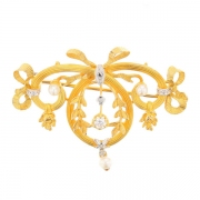 Broche ancienne diamants 0,03 carat et perles en or jaune