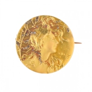 Broche diamants en or jaune 17.04 grs