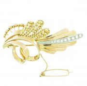 Broche diamants en or jaune et or blanc