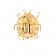 Broche coccinelle diamants 1.04 carat en or jaune