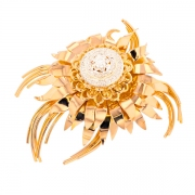 Broche florale diamants 0.25 carat en or jaune
