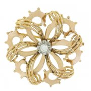 Broche rosace vintage diamant en or bicolore