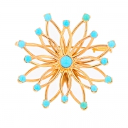 Broche rosace turquoises en or jaune 11.12grs