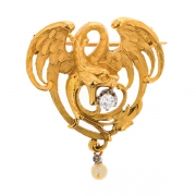 Broche diamants et perle en or jaune 12.65 grs