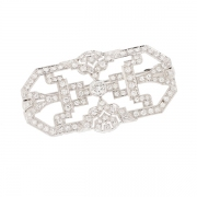 Broche ancienne diamants 2.95 carats en or blanc et platine
