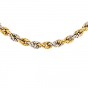 Collier maille corde en or bicolore