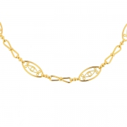 Collier maille filigrane en or jaune 30.56grs