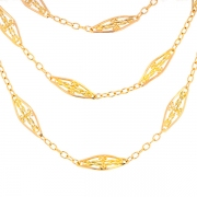 Collier 3 rangs maille filigrane en or jaune 39.09grs