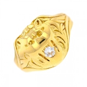 Bague tête de lion diamant 0.12 carat en or jaune
