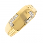 Bague chevalière diamants 0.12 carat en or jaune
