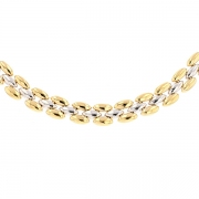 Collier maille contemporaine en or bicolore