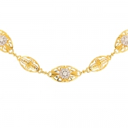 Collier maille filigrane diamants 0.25 carat en or bicolore