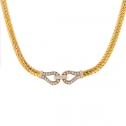 Collier maille anglaise et diamants 1 carat en or bicolore