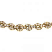 Collier frise navettes diamants 1,60 carat en or jaune