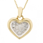 Collier pendentif coeur diamants 0,26 carat en or bicolore