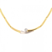 Collier maille contemporaine diamant 0.25 carat en or bicolore