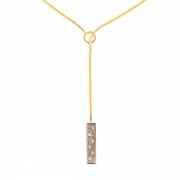 Collier pendentif diamants 0.06 carat en or bicolore
