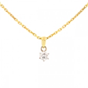 Collier solitaire diamant 0.25 carat en or bicolore